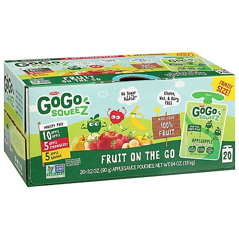 GoGo squeeZ Applesauce, Variety Apple Banana Strawberry - 20 - 3.2 Oz