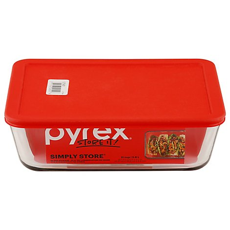 Pyrex Simply Store Glass Storage With Red Lid Rectangular 11 Cup - Each