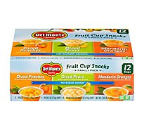 Del Monte Fruit Cup Snacks Diced Peaches Diced Pears Mandarin Oranges Family Pack - 12 Count