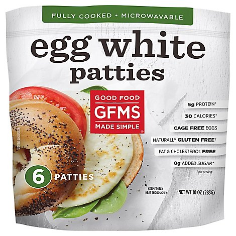 Good Food Made Simple Egg White Patties Cage Free 4 Inch Pouch 5 Count - 10 Oz
