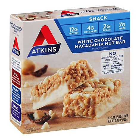 Atkins Snack Bar White Chocolate Macadamia Nut Box - 5-1.41 Oz