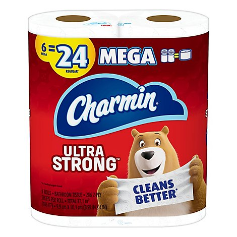Charmin Ultra Strong Bathroom Tissue Mega Rolls 2 Ply - 6 Roll