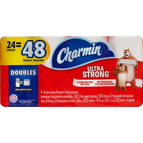 Charmin Ultra Strong Bathroom Tissue Double Rolls 2- Ply Wrapper - 24 Roll