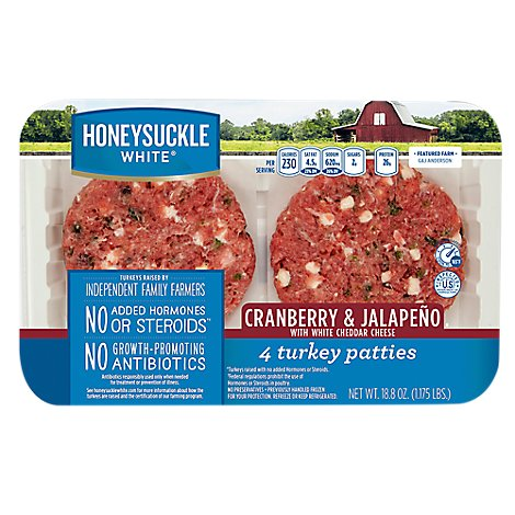 Honeysuckle White Turkey Ground Turkey Patties Cranberry Jalepeno Fresh - Each