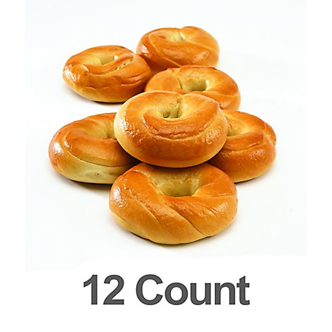 Bakery Mini Plain Bagel 12 Count - 18 Oz