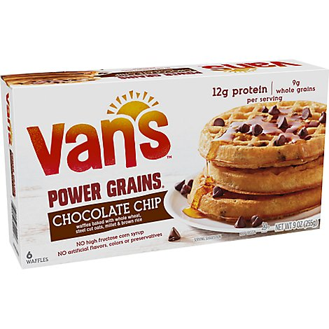 Vans Power Grains Chocolate Chip Waffles 6 Count - 9 Oz