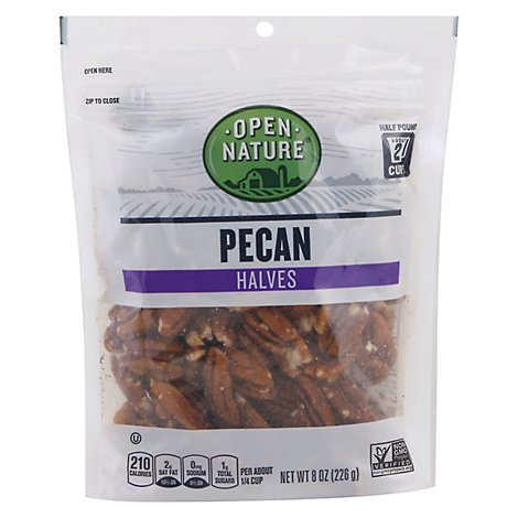 Open Nature Pecan Halves - 8 Oz