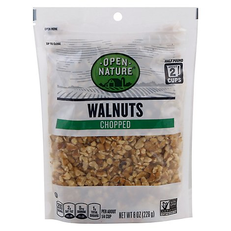 Open Nature Walnuts Chopped Bag - 8 Oz