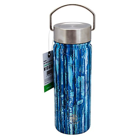 Gaiam Water Bottle Stainless Steel Wide Mouth 18 Ounce Bluegrass - Each