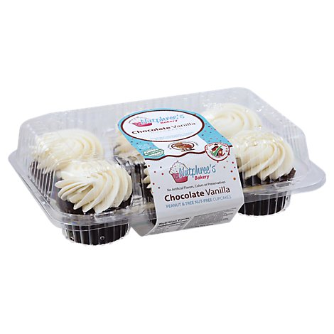 Nutphrees 6-Pack Chocolate Cupcakes With Vanilla Frosting - 18 Oz
