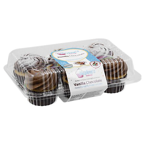 Nutphrees 6-Pack Vanilla Cupcakes With Chocolate Frosting - 18 Oz