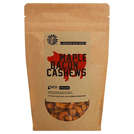 City Peanut Maple Bacon Cashews - 4 Oz