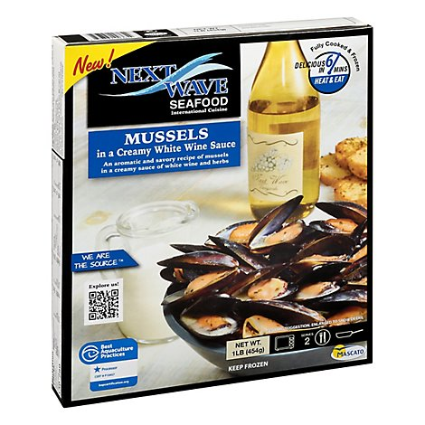 Next Wave Whole Shell Mussels In Creamy Wine Sauce - 16 Lb