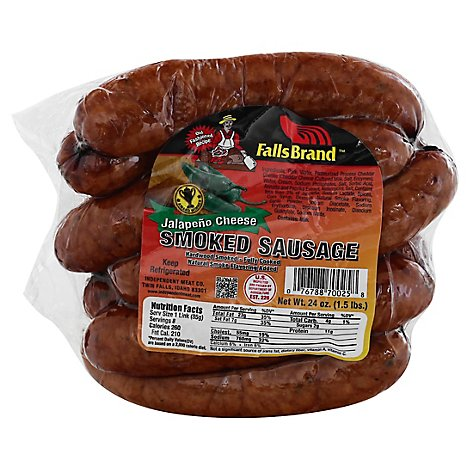 Falls Brand Old Fashioned Jalapeno Cheese Smoked Sausage - 1.5 Lb
