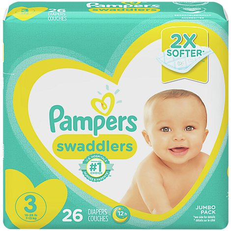 Pampers Swaddlers Diapers Size 3 Jumbo Pack Wrapper - 26 Count