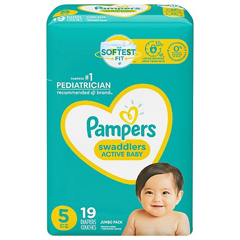 Pampers Swaddlers Diapers Size 5 Jumbo Pack Wrapper - 19 Count