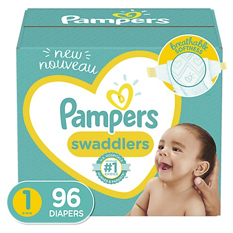 Pampers Swaddlers Diapers Size 1 Super Pack Box - 96 Count