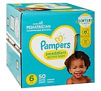Pampers Swaddlers Diapers Active Baby Size 6 - 50 Count