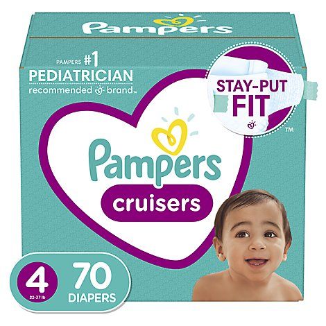 Pampers Cruisers Diapers Size 4 Super Pack Box - 70 Count
