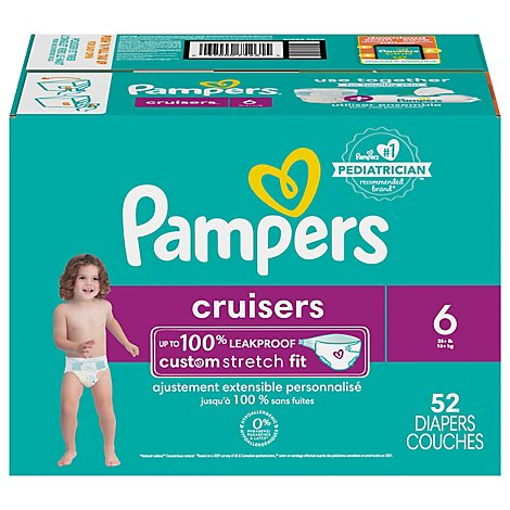 Pampers Cruisers Diapers Size 6 Super Pack Box - 52 Count