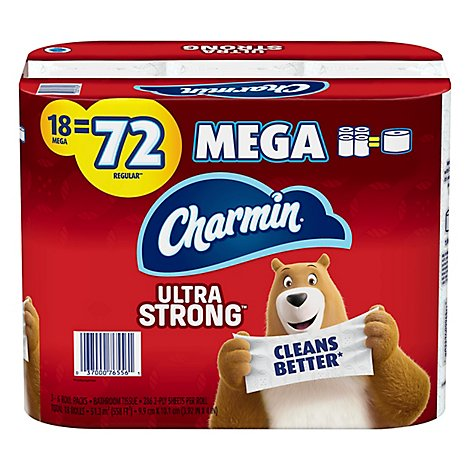 Charmin Ultra Strong Bathroom Tissue Mega Rolls 2 Ply - 18 Roll