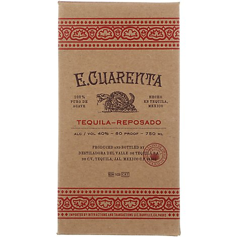 E Cuarenta Tequila Reposado 80 Proof - 750 Ml