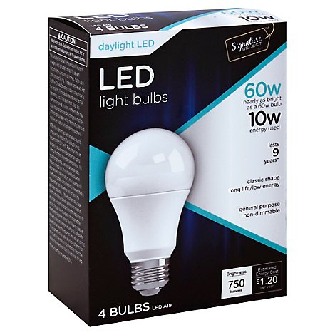 Signature SELECT Light Bulb LED Daylight 10W A19 750 Lumens- 4 Count