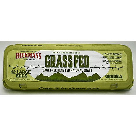 Hickmans Egg Ranch Cage Free Grass Fed - 12 Count