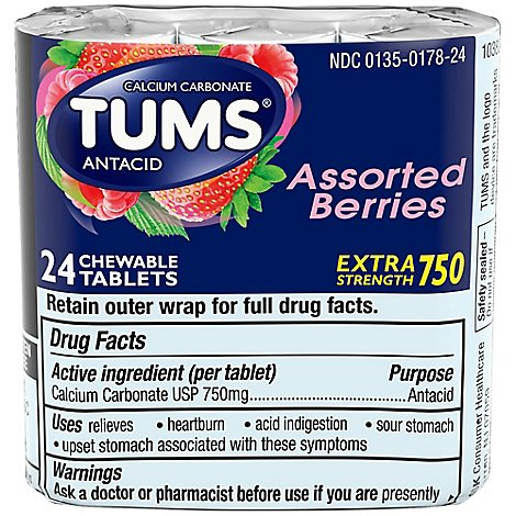 TUMS Antacid Tablets Chewable Extra Strength 750 Assorted Berries - 24 Count