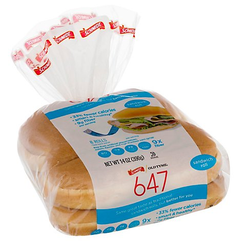 Schmidt Old Tyme 647 Bread Carb Smart Sandwich Roll 8 Count - 14 Oz