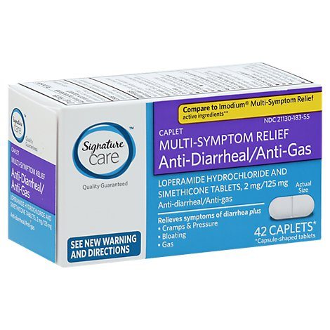 Signature Anti Diarrheal Anti Gas Multi Symptom Relief Caplet - 42 Count