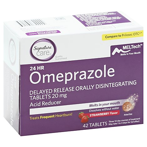 Signature Care Omeprazole Acid Reducer Orally Disintegrating 20mg Strawberry Tablet - 42 Count