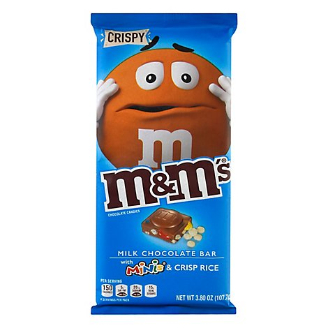 M&Ms Crispy & Minis Milk Chocolate Candy Bar 3.8 Oz