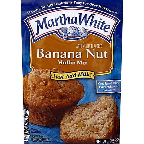 Martha White Muffin Mix Just Add Milk Banana Nut - 7.6 Oz