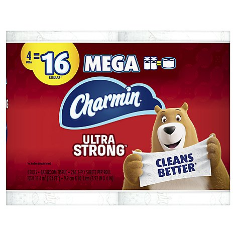 Charmin Ultra Strong Bathroom Tissue Mega Rolls 2 Ply - 4 Roll