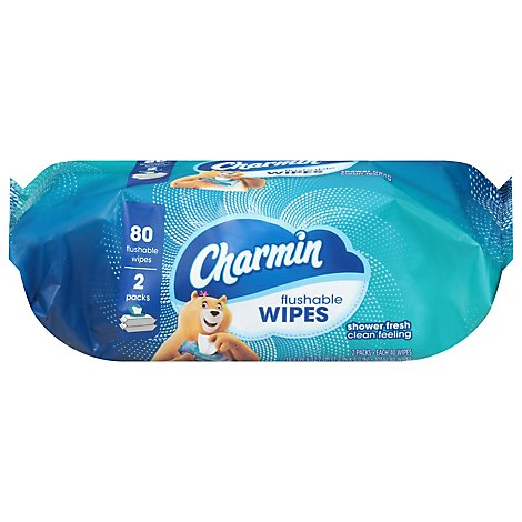 Charmin Flushable Wipes 2 Packs - 80 Count
