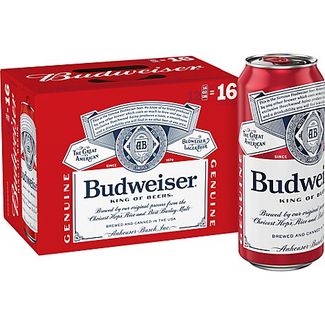 Budweiser 12 Pack 16 Fz In Cans - 12-16 Fl. Oz.