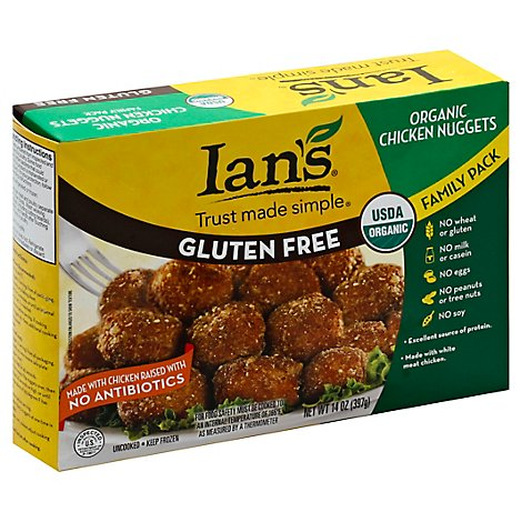 Ians Chicken Nuggets Organic Whole Grain Gluten Free Family Pack - 14 Oz