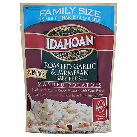 Idahoan Potatoes Mashed Baby Reds Roasted Garlic & Parmesan Family Size - 8.2 Oz