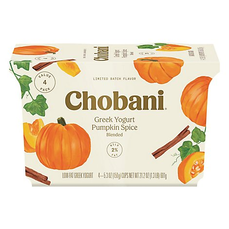 Chobani Yogurt Greek Low Fat 2% Milkfat Blended With Pumpkin & Spice - 4-5.3 Oz