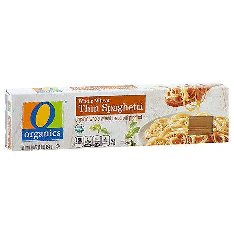 O Organics Pasta Spaghetti Thin Whole Wheat - 16 Oz