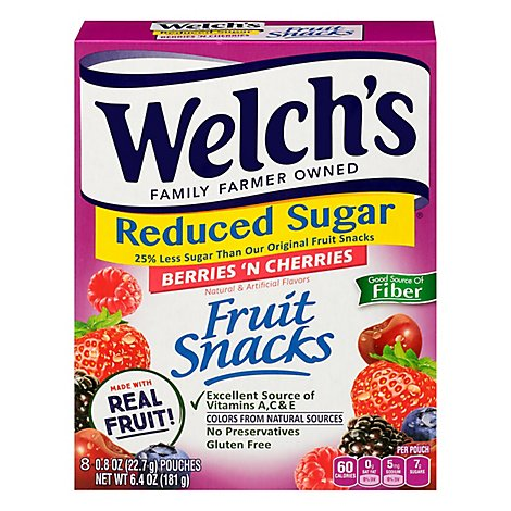 Welchs Fruit Snacks Reduced Sugar Berries N Cherries - 8-0.8 Oz