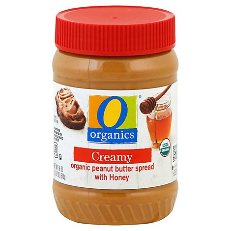 O Organics Peanut Butter Honey No Stir - 18 Oz