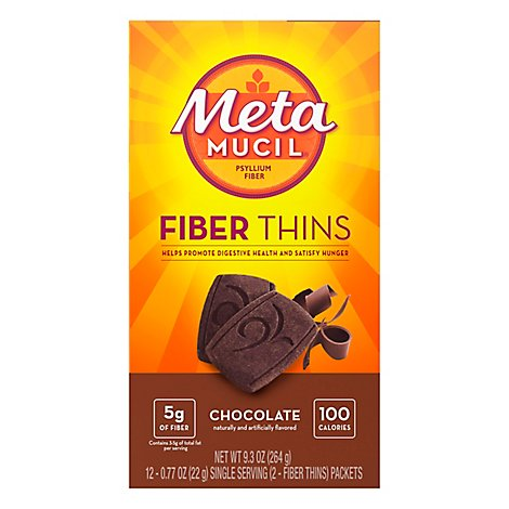 Metamucil Fiber Supplement Fiber Thins Chocolate - 12-0.77 Oz