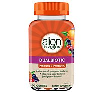Align Dietary Suppliment Dualbiotic Prebiotic + Probiotic Digestive Health Gummies - 60 Count