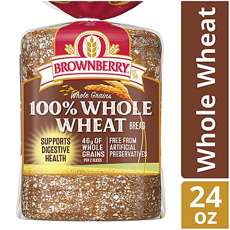 Brownberry Bread Whole Grains 100% Whole Wheat - 24 Oz