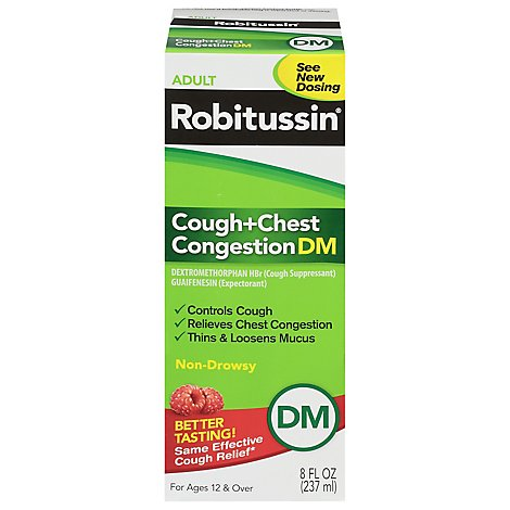 Robitussin Cough + Chest Congestion DM Adult Cough + Congestion Relief Liquid - 8 Fl. Oz.