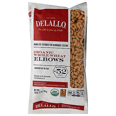 DeLallo Pasta Organic 100% Whole Wheat No. 52 Elbows - 16 Oz