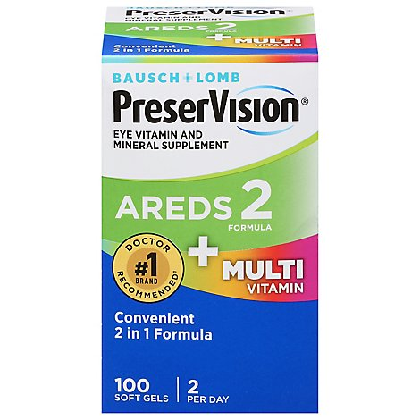 Bausch + Lomb PreserVision Eye Vitamin Soft Gels AREDS 2 Formula + Multivitamin - 100 Count