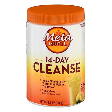 Metamucil Fiber Supplement 14 Day Cleanse Powder Citrus Sugar Free - 6.1 Oz